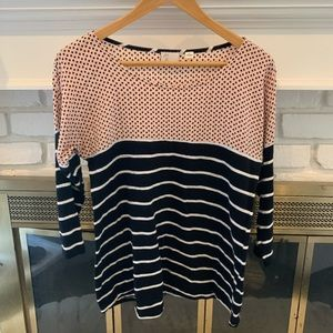 Anthropologie striped pattern blocked top size S
